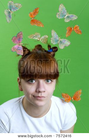 Young Girl  With Flying Butterflies.