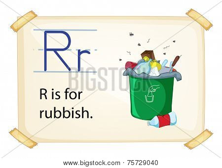 A letter R for rubbish on a white background