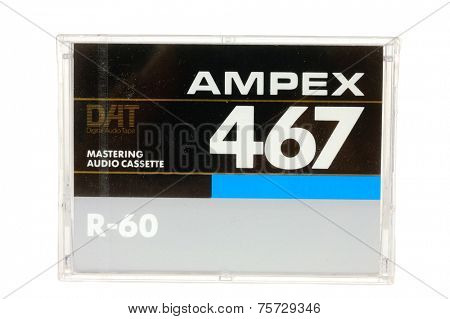 Hayward, CA - 27 October, 2014: Cassette of AMPEX467 DAT Mastering audio tape