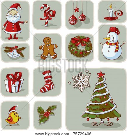 Vintage Christmas Graphic Elements Hand Drawn Vector