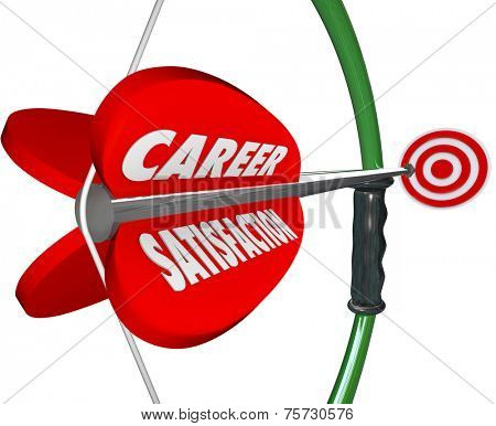 Career Satisfaction words on a 3d bow and arrow to illustrate job or work happiness, fulfillment and enjoyment as an employee at a business or company