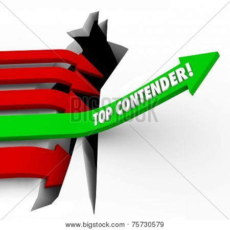Top Contender words on arrow rising to be best player, challenger, competitor or candidate for a new job or winning a came or competition