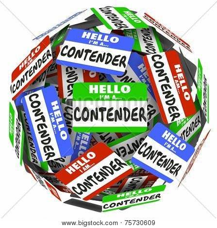Contender word on name badges, tags or stickers in a sphere to illustrate competing for a job, career, work or win a game