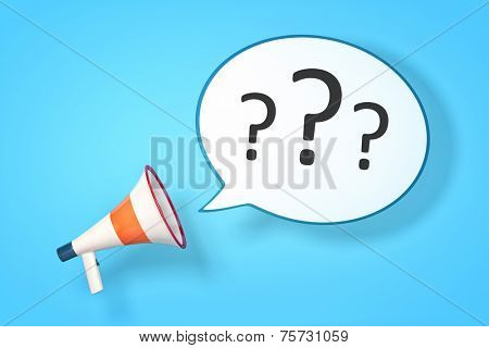 A megaphone with a speech bubble and three questionmarks