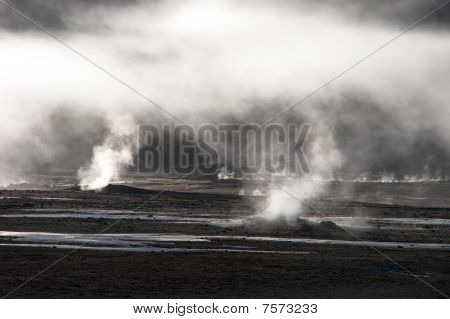 Mist Rising From Geyser Field, Chile
