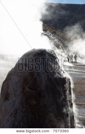 Boiling Drops Of Water Erupting From Geyser, Chile