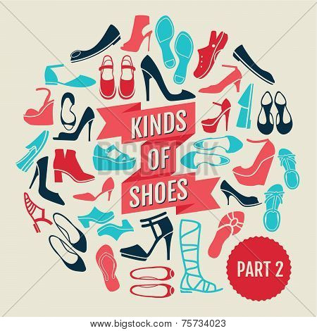 kinds of shoes. part 2. set of flat icons