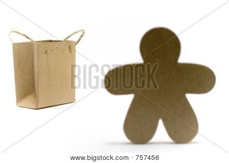 paper bag and figure