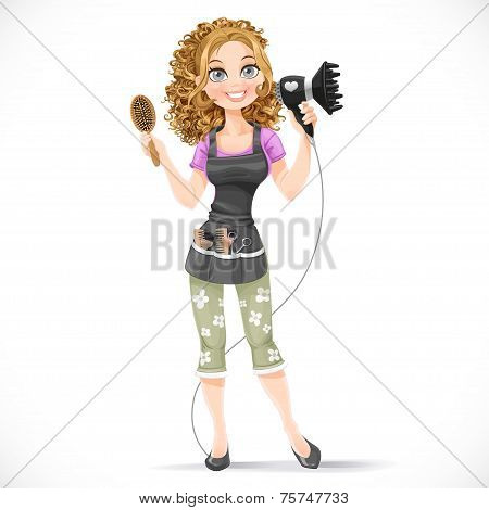 Cute Girl Hairdresser With Hair Dryer And Hairbrush Portrait In Full Growth Isolated On A White Back