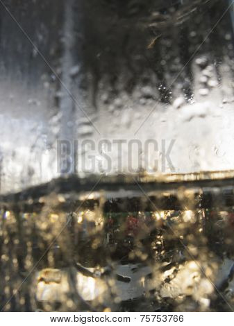 Abstract glass background - Water condensation on the cold glass surface poster