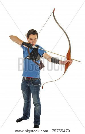 Boy Shooting With Bow And Arrow