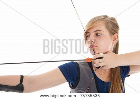 Girl Holding A Bow And Arrow In Closeup
