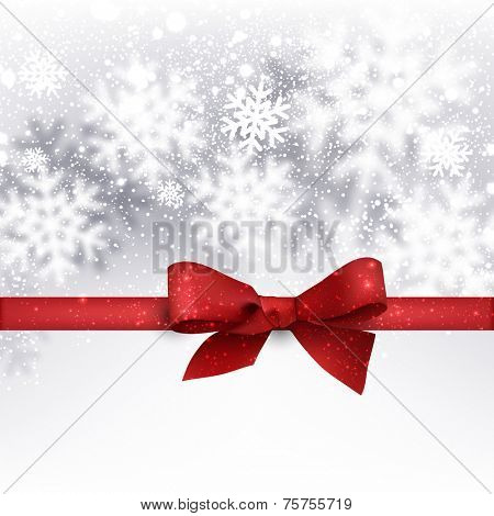 Winter silver background. Fallen defocused snowflakes. Christmas. Vector.
