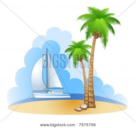 Palm and ship