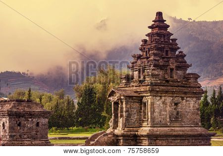 Arjuna complex in plateau Dieng, Java , Indonesia poster