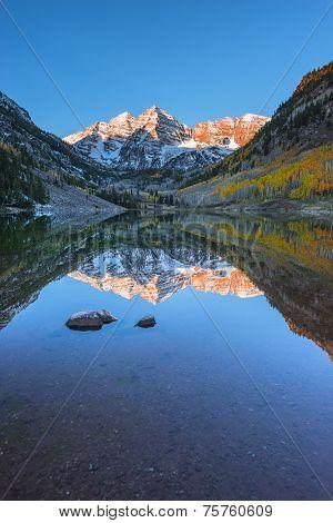 Maroon Bells Sunrise Aspen Colorado Vertical Composition Reflection