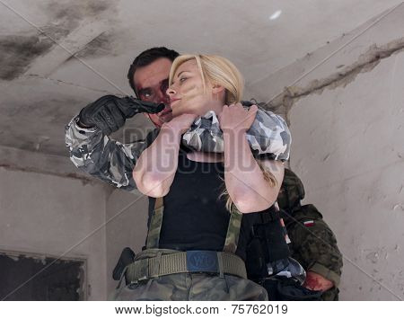Female Hostage And Hijacker With Gun