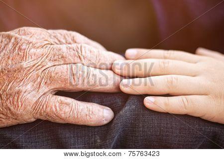 nephew touching grandfather's hand