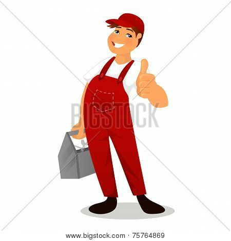 Plumber in red overall