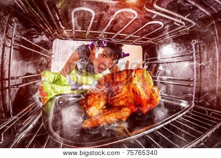 Funny Housewife overlooked roast chicken in the oven, so she had scorched , view from the inside of the oven. Housewife perplexed and angry. Loser is destiny!