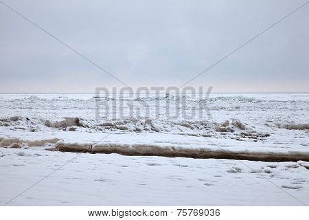Frozen sea in cold winter weather