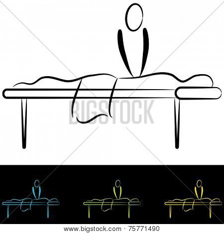 An image of people at a massage table.