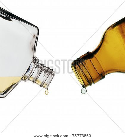 Brown And Clear Glass Lab Bottles