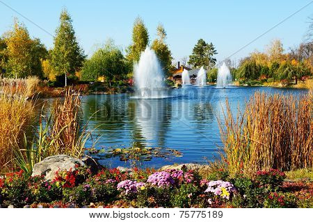 The Fountains And Pond Near