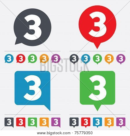 Third place award sign. Winner symbol. Step three. Speech bubbles information icons. 24 colored buttons. Vector poster
