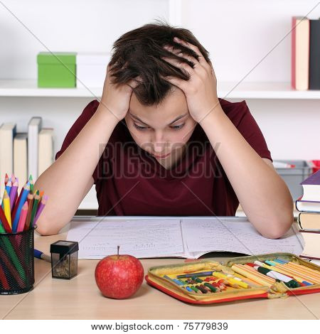 Student Has Stress And Is Desperate At School