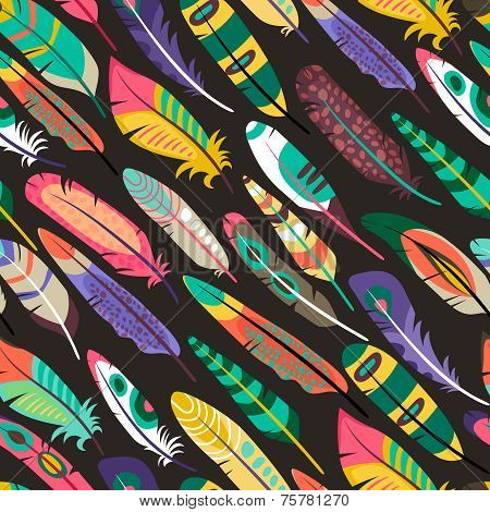 Colorful seamless pattern with feathers