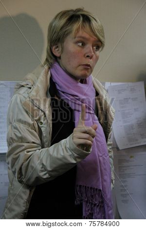 Candidate for mayor of Khimki opposition Evgeniya Chirikova says journalists