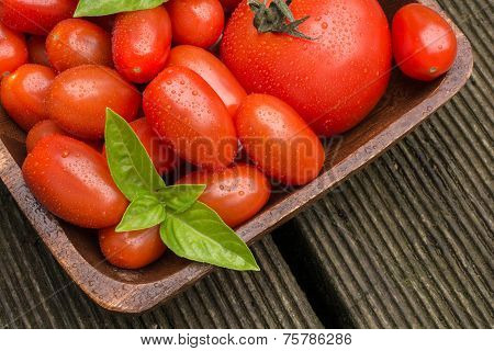 Tomatoes With Waterdrops In A Wooden Bowl
