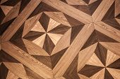 Classical pattern of old brown oak wood parquet poster