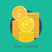 Vector illustration of money exchange in modern flat style. Currency exchange icon. poster