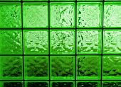 Abstract of a Green-tone Glass Block Window Frame poster