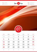 Calendar 2015. July. Vector template with abstract background. Week starts sunday poster