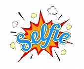 Selfie burst icon on white background in popart style poster