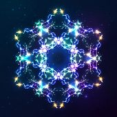 Abstract cosmic fractal shining bright vector snowflake poster