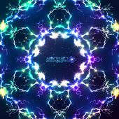 Abstract shining fractal bright vector electric background poster