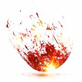 Red vector abstract falling down meteorite explode poster