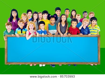 Multi-Ethnic Group of Children Holding Empty Billboard poster