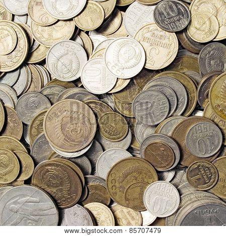 USSR coins closeup background.