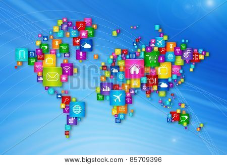 World Map Flying Desktop Icons Collection