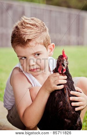 Cute little boy playing with his bet chicken.