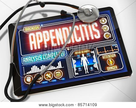 Appendicitis on the Display of Medical Tablet.