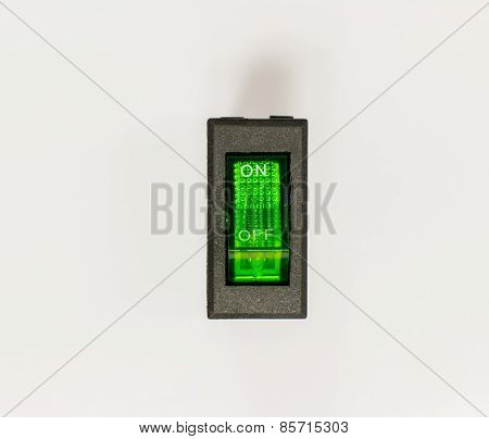 Green Rocker Switches with Light side views. poster