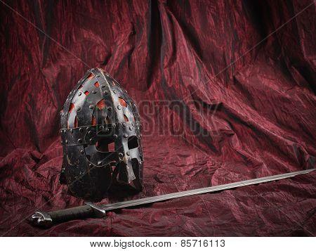 Medieval Helmet And Sword