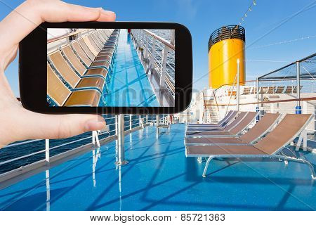 Tourist Shoot Photo Upper Deck Of Cruise Liner