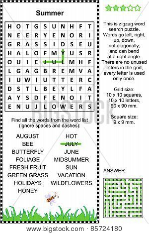 Summer themed wordsearch puzzle